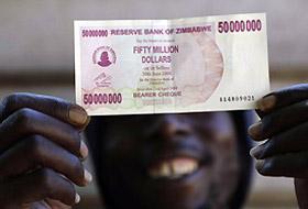 Zimbabwe 50 milyon $'lık banknot bastı.16787